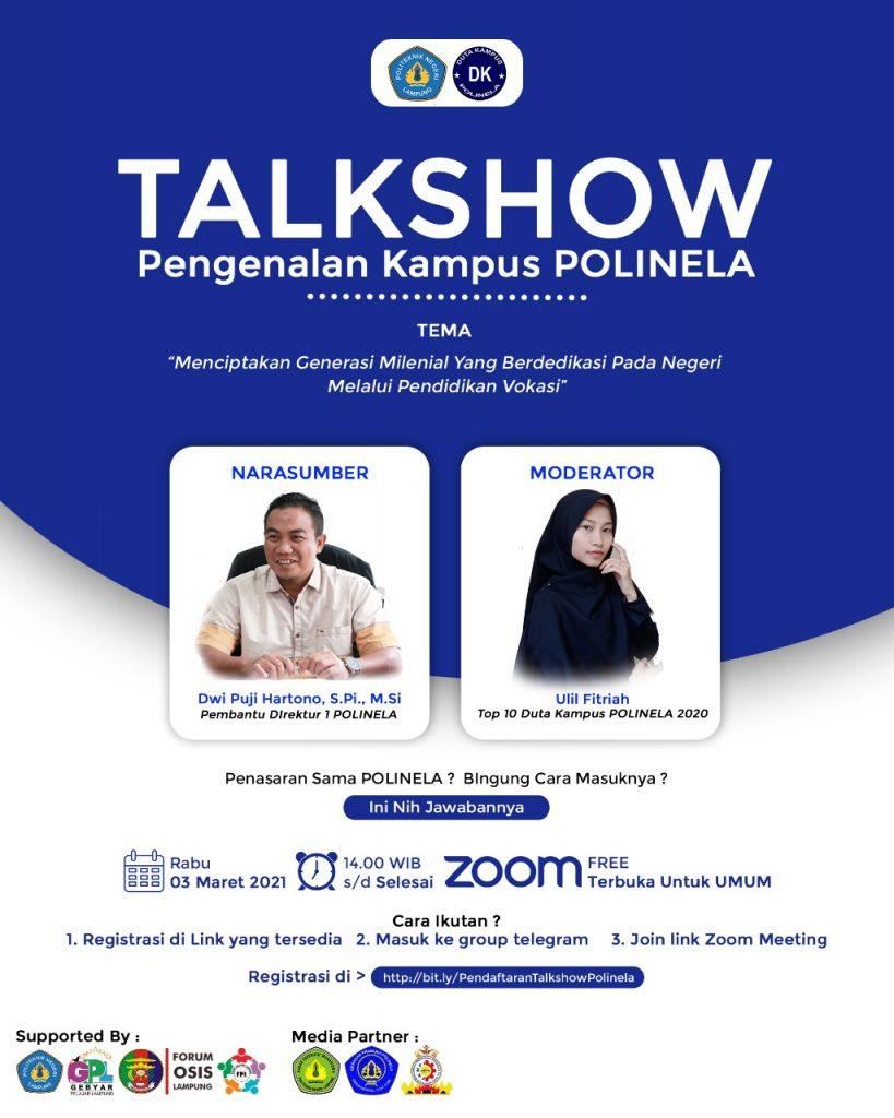 Talkshow Pendidikan Tinggi Vokasi Politeknik Negeri Lampung